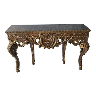 1970s Rococo Gilded Console Table with Hoof Floral Details For Sale