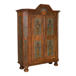Antique Original Folk Art Painted Armoire Wardrobe From Romania For Sale