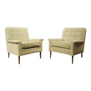 1960s Paris Green Velvet Armchairs - A Pair