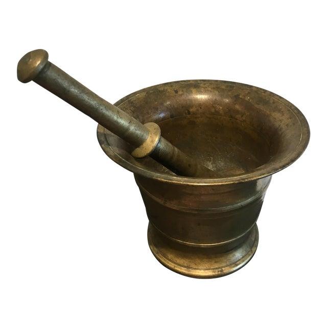 Antique Brass Mortar & Pestle - Image 1 of 4
