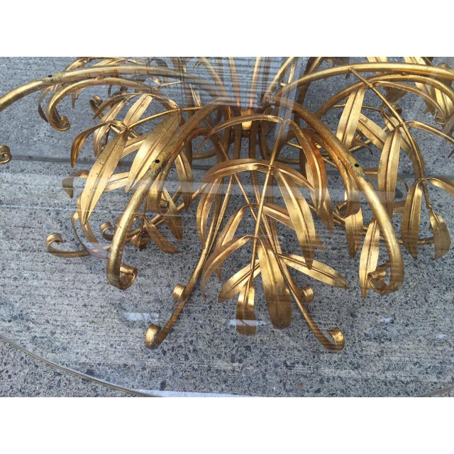 Hollywood Regency Italian Gilt Metal Floral Coffee Table For Sale - Image 3 of 5