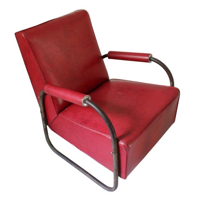 Art Deco Art Deco Vinyl & Chrome Club Chair For Sale - Image 3 of 6