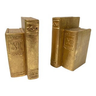 Pair of Gold Gilt Book Sculpture Bookends For Sale