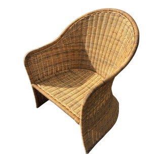 Vintage 80s High Back Rattan Chair For Sale