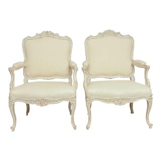 19th Century Antique Swedish Rocco Style Pair of Armchairs