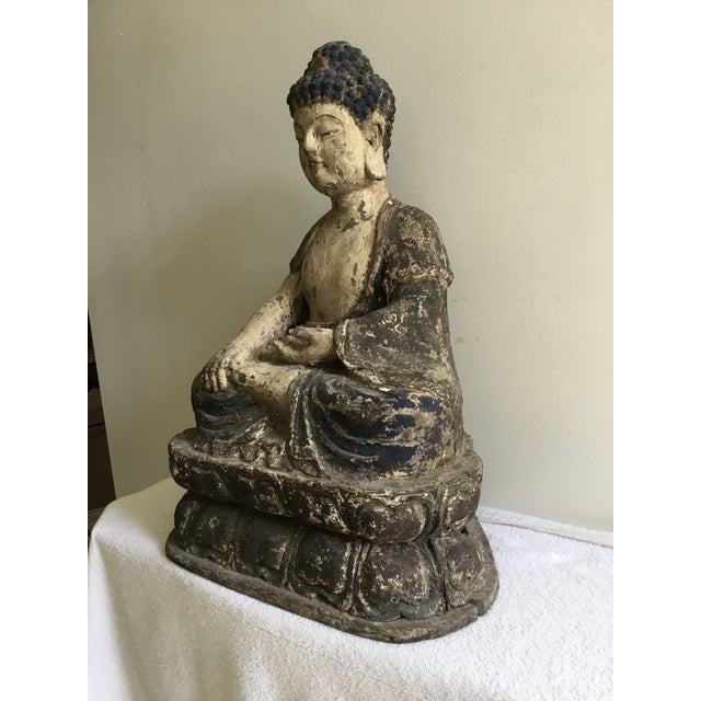 Early 20th Century Antique Wooden Carved Buddha Figurine For Sale - Image 5 of 12