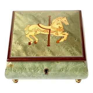 Vintage Italian Burl Elm Marquetry Carousel Horse Music Box For Sale