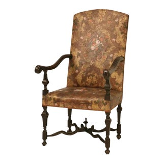 Antique Embossed Painted & Gilded Leather Chair For Sale