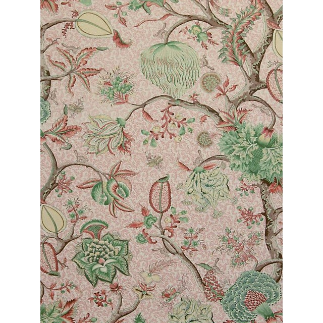 Traditional Scalamandre Pondicherry, Salmon, Green on Salmon Fabric For Sale - Image 3 of 3