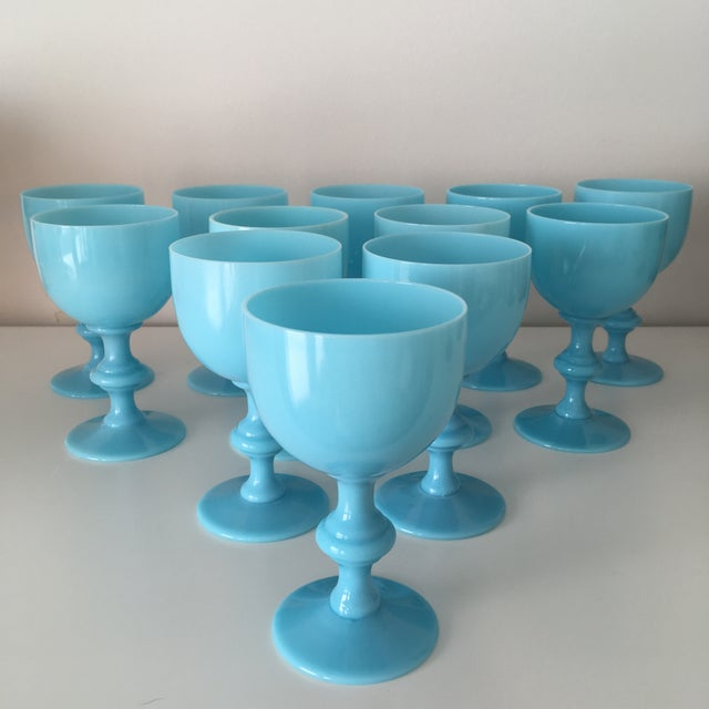 Portieux Vallerysthal French Portieux Vallerysthal Blue Opaline Wine Goblets - Set of 12 For Sale - Image 4 of 4