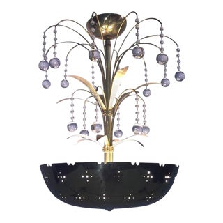 Paavo Tynell Style Polished Brass Bowl Glass Ball Pendant Chandelier For Sale