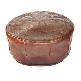 Vintage Latin American Leather Footstool Pouf
