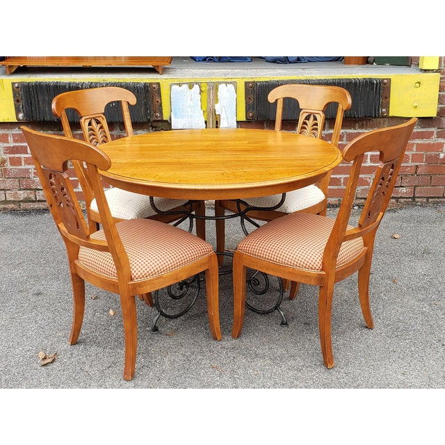 1990s Ethan Allen Legacy Collection Maple Table W/ Wrought Iron Base & 4 Side Chairs C1990s For Sale - Image 5 of 13