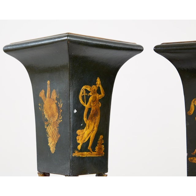 19th Century French Neoclassical Directoire Style Tole Vases - a Pair For Sale - Image 5 of 13