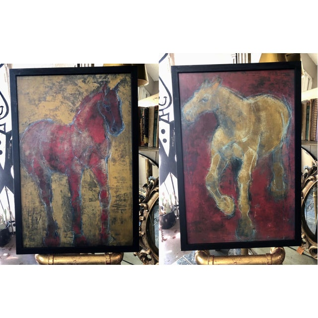 Figurative Reverse-Color Framed Hearting Horses Prints - a Pair For Sale - Image 12 of 12