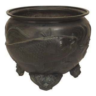 Oriental Japanese Bronze Large Jardiniere For Sale