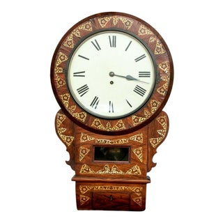 19th C. English Drop Dial Wall Clock With Mother of Pearl and Fusée Movement For Sale