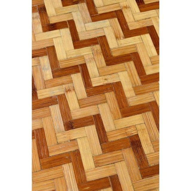 1970s Chevron Parquet Bamboo Rattan Pedestal Dining Table or Desk, 1970s For Sale - Image 5 of 7