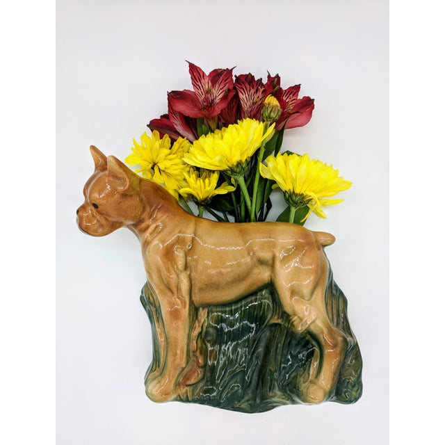 Unique and rare boxer wall pocket. Perfect for dog lovers or collectors of whimsical pieces. Would be great for a vase, an...