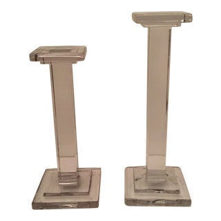Glass Pillars Candle Sticks - A Pair For Sale