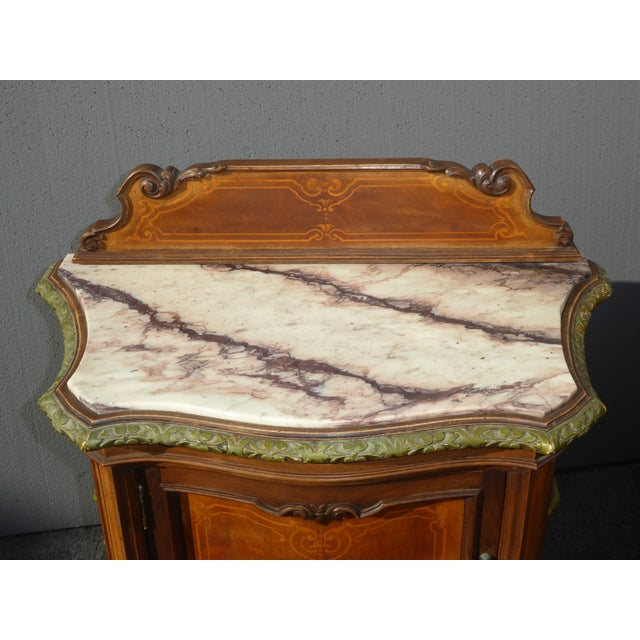 Antique French/Italian White Marble Top Nightstands - a Pair - Image 6 of 11