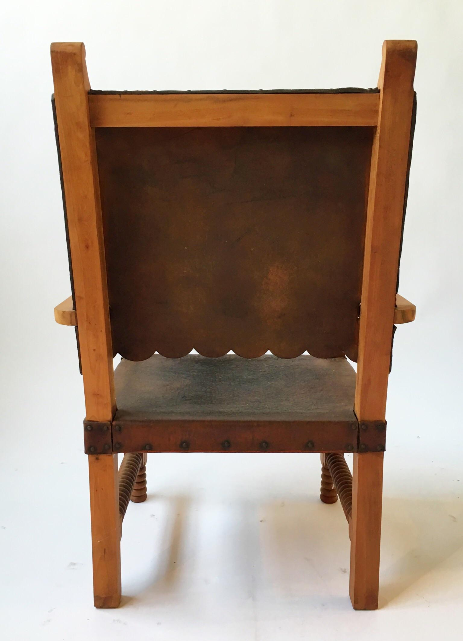 Bon Antique Leather King Chair With Spindle Legs For Sale   Image 5 Of 5