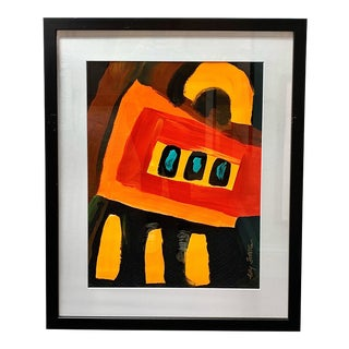 Abstract Acrylic Painting on Paper For Sale
