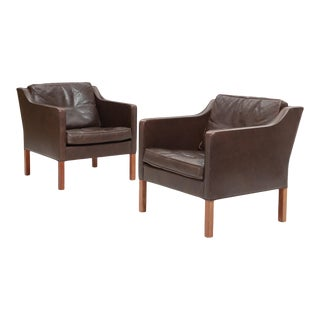 1970s Leather Armchairs by Børge Mogensen - a Pair For Sale