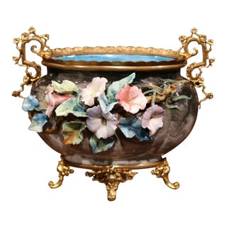19th Century French Hand-Painted Barbotine Flower Jardinière with Bronze Mounts