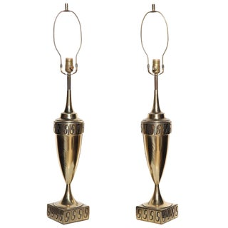 1950s Westwood Studios Neoclassical Revival Brass Table Lamps - a Pair For Sale