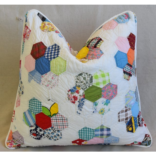 American Patchwork Quilt Feather/Down Pillow For Sale - Image 4 of 5