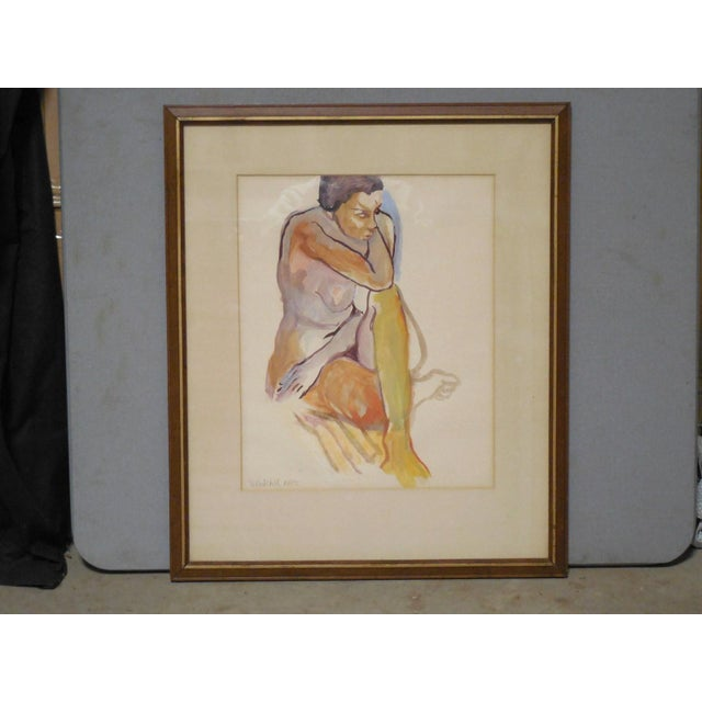 1965 Vintage Nude Watercolor on Paper Painting - Image 2 of 7