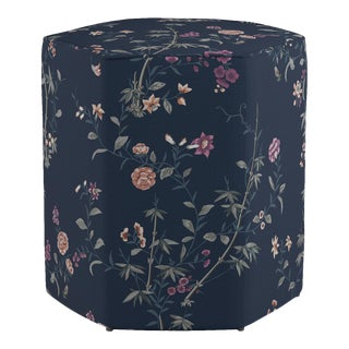 Hexagonal Ottoman in Navy Bamboo Garden For Sale
