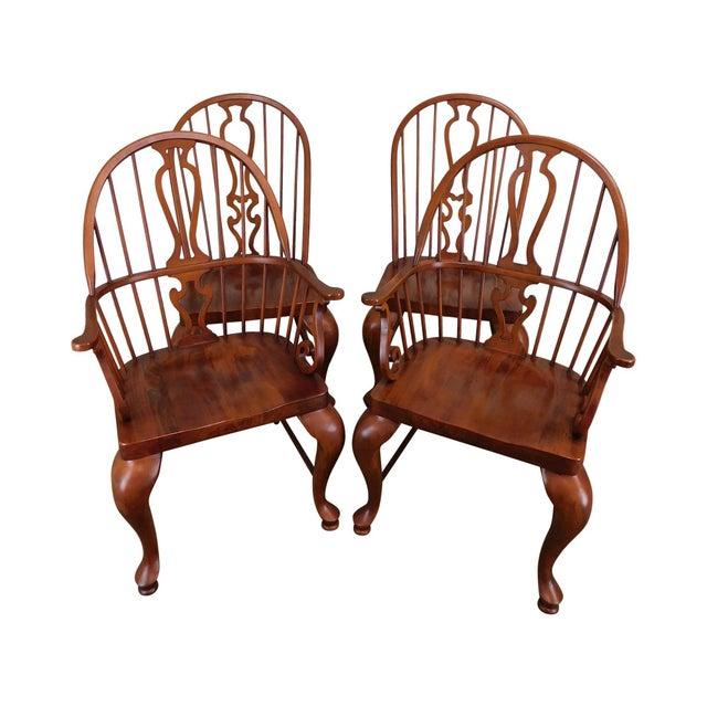 Bob Timberlake Lexington Furniture Set 4 Cherry Windsor Dining Chairs For Sale - Image 13 of 13