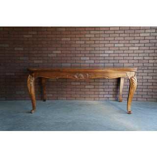 French Provincial Antique Draw Leaf Walnut Dining Table For Sale