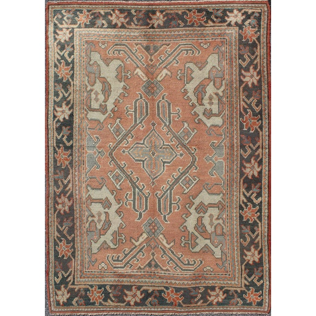 Apricot Keivan Woven Arts, F-0912, Early 20th Century Antique Turkish Oushak Rug - 5′3″ × 7′10″ For Sale - Image 8 of 8
