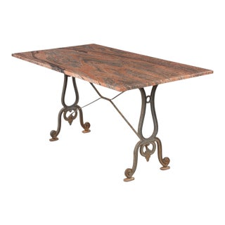 1920s French Granite Top Bistro Table With Iron Base For Sale