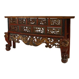 Asian Chinese Style Large Red and Gold Lacquered Narrow Console Table For Sale