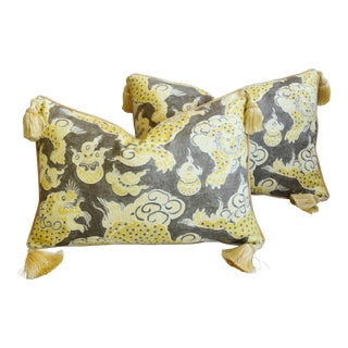 """Designer Chinoiserie Dragon Tasseled Feather/Down Pillows 26"""" X 18"""" - Pair For Sale"""
