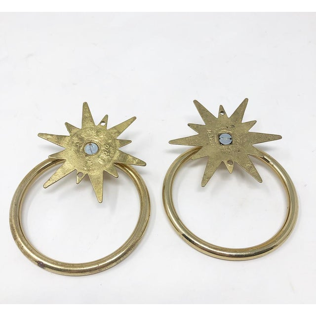 Metal Mid-Century Starburst Hardware - a Pair For Sale - Image 7 of 10