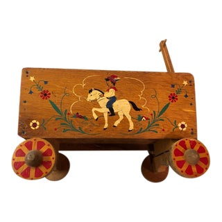 1960s Handcrafted Wooden Wagon Toy For Sale