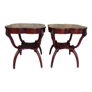 1950s Traditional Carved Mahogany Leather Top Side Tables - a Pair