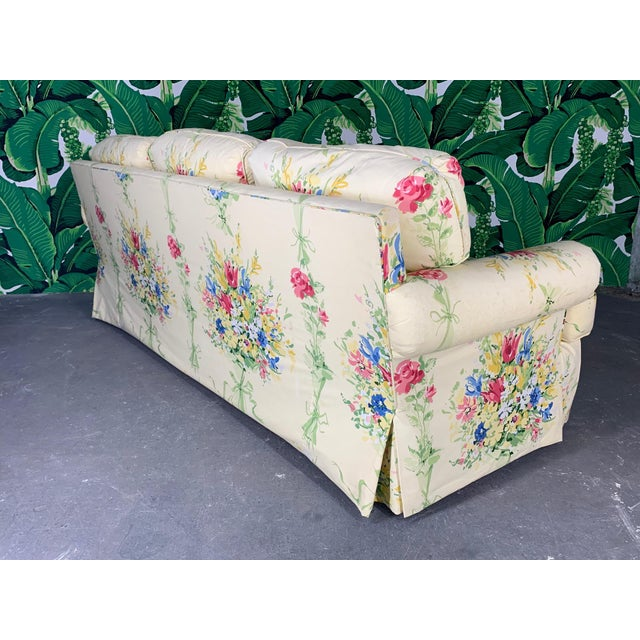 Pair of Floral Upholstered Sofas by Sherrill For Sale - Image 6 of 9
