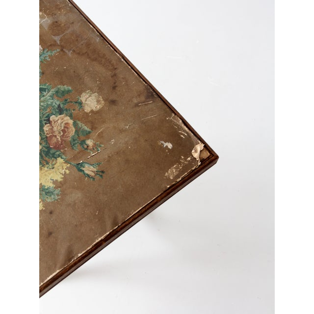 Brown Vintage Floral Folding Table For Sale - Image 8 of 10