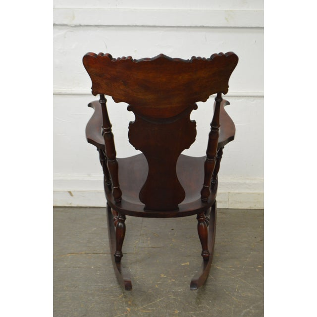 Antique Carved Mahogany Northwind Rocker Rocking Chair