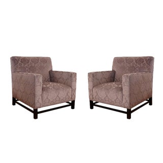 Vintage Mid Century Upholstered Velvet Club Chairs- A Pair For Sale