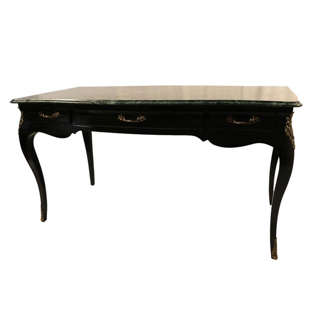An exceptional black lacquer, made by century furniture, Louis XV style desk. This is a very attractive, well-crafted...