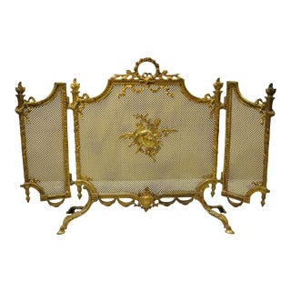 Antique French Louis XVI Style Bronze 3 Section Folding Fire Screen For Sale