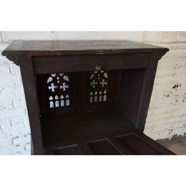 Antique Belgian Dark Oak Gothic Bar Cabinet, Circa 1850s For Sale - Image 9 of 11