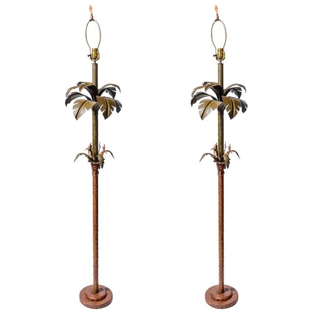 Pair of Original Palm Beach Painted Tole Floor Lamps, C.1960 For Sale - Image 12 of 12